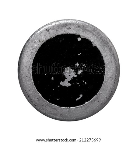 Aged metal texture in a round frame isolated white with clipping path - stock photo