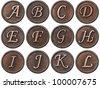 Aged metal vintage alphabet letters. - stock photo