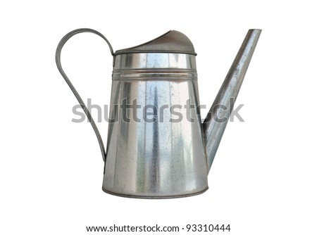 Aged metallic watering can. Clipping path included to replace background - stock photo