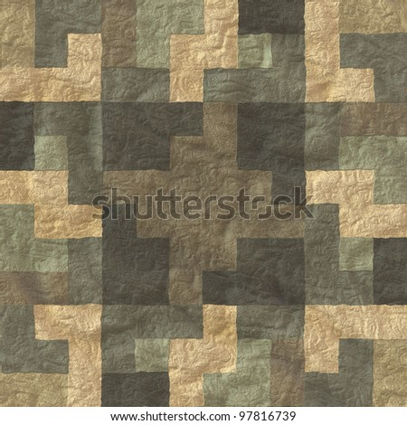 aged mosaic wall - stock photo