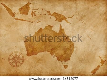 aged old grunge Australia map illustration - stock photo