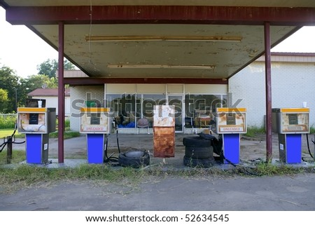 Aged old vintage gas station abandoned in Texas - stock photo