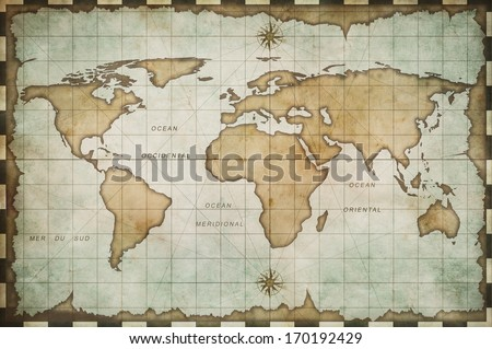 aged old world map - stock photo