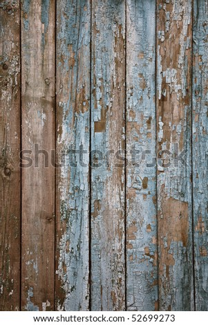 aged painted wooden fence, naturally weathered - stock photo