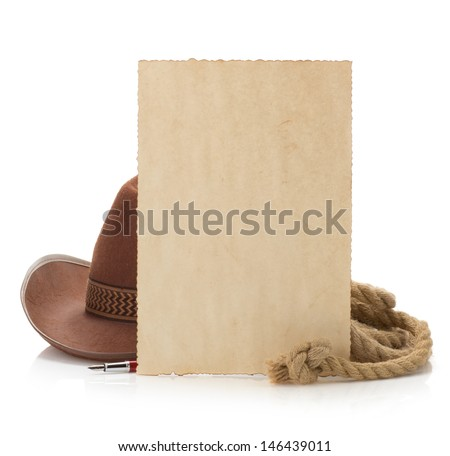 aged paper and cowboy hat isolated on white background - stock photo