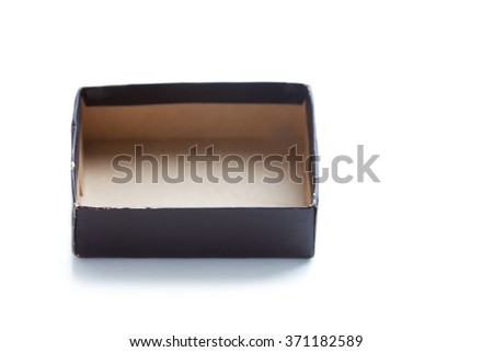 Aged paper box without cover. opened, brown color empty container. soft focus. copy space, macro view - stock photo