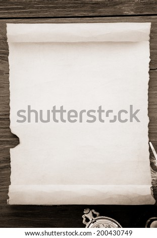 aged paper isolated on white - stock photo