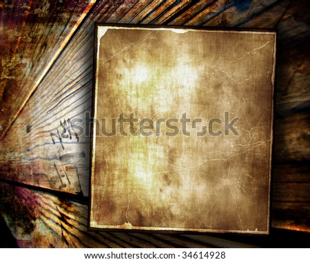 Aged Paper On Wood - stock photo