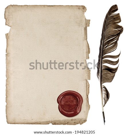 aged paper sheet with wax seal and ink feather pen isolated on white background - stock photo