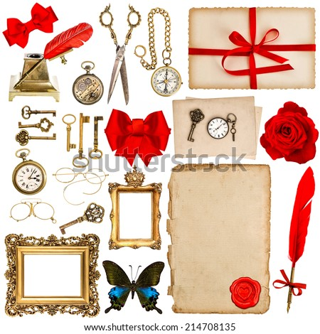 aged paper sheets with vintage accessories isolated on white background. antique clock, greeting card, feather pen, keys, red flower, butterfly. scrapbook elements for holidays - stock photo