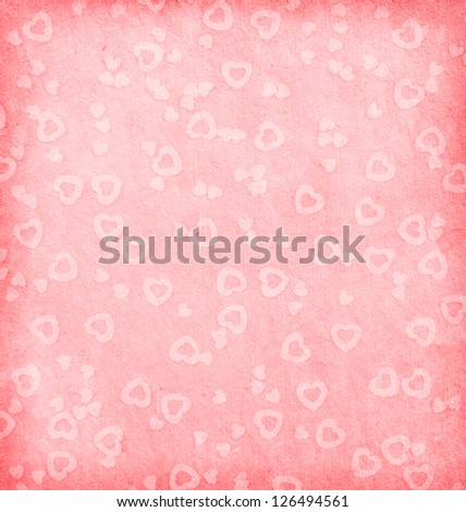 aged paper texture. paper with hearts - stock photo