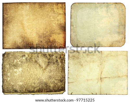 Aged paper textures, grunge backgrounds - stock photo