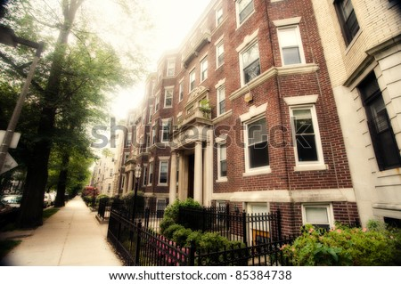 Aged photo of historic residential street in Boston, Massachusetts. - stock photo