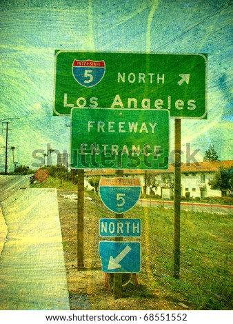 aged photo of los Angeles freeway sign