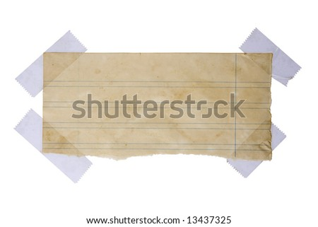 Aged piece of paper stuck with tape - stock photo