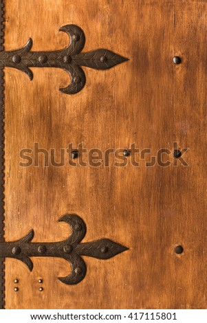 Aged shutters door board with iron decorated hinges and bolts. & Door Hinge Stock Images Royalty-Free Images \u0026 Vectors | Shutterstock Pezcame.Com