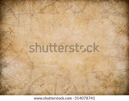 aged treasure map background with compass  - stock photo