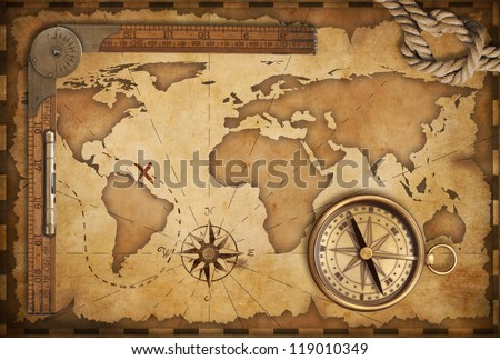 aged treasure map, ruler, rope and old brass compass still life - stock photo