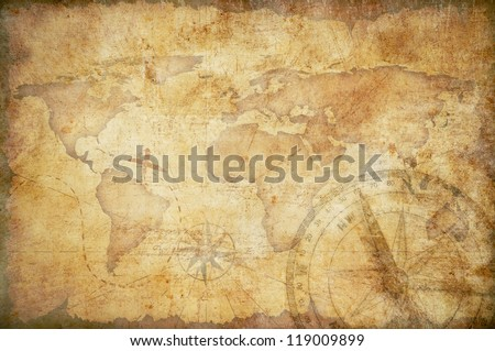 aged treasure map with compass background - stock photo