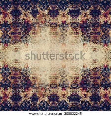 Aged vintage background with floral ornaments - natural worn surface. Raster high quality  image. Abstract texture for your use. Old looking paper and textiles background. - stock photo