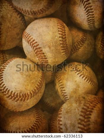 Aged Vintage baseball background - stock photo