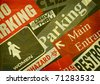 aged vintage collage of public signs - stock photo