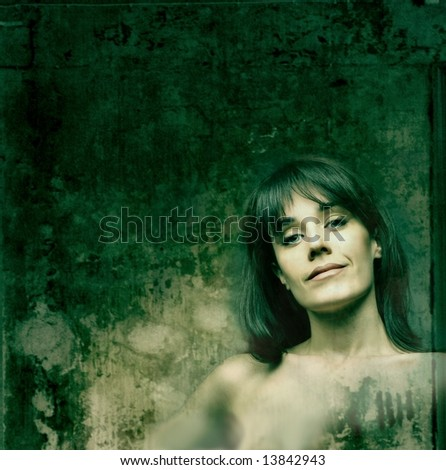 Aged Vintage Grunge with a portrait of a woman
