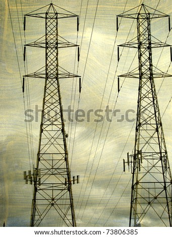aged vintage photo of electrical power lines and towers