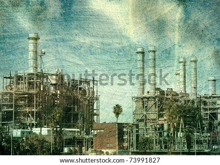 aged vintage photo of industrial factory with smoke and pollution - stock photo