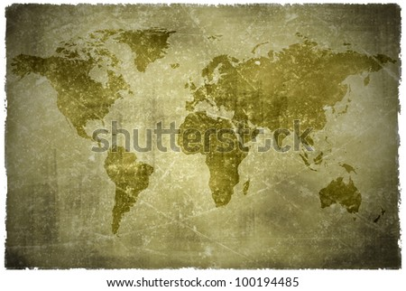 aged  vintage world map texture and background - stock photo