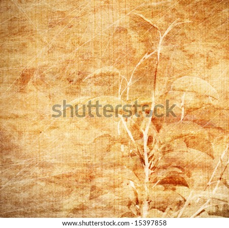 Aged wallpaper with floral elements - stock photo