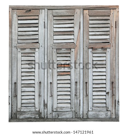 Aged weathered wooden window  - stock photo