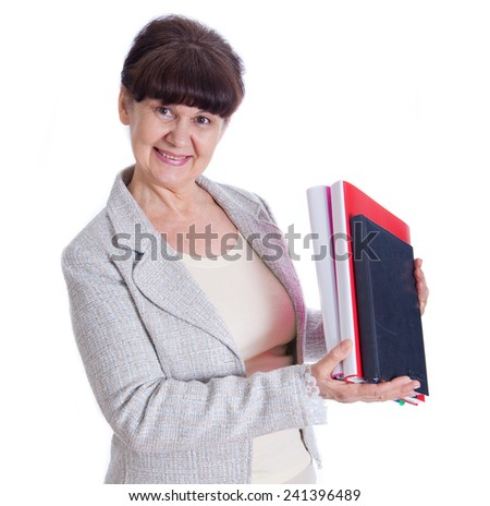 Aged woman posing like an office worker, administrator, secretary