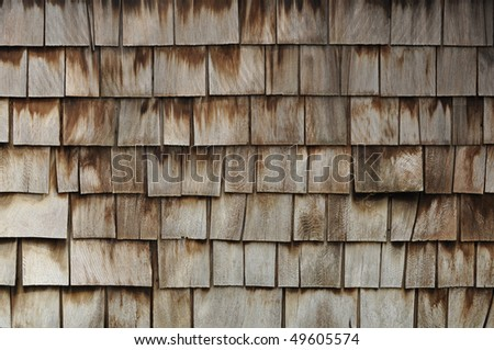 Aged Wooden Shingle Background with Copyspace