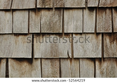 Aged Wooden Shingle Background with Copyspace - stock photo