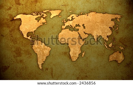 aged world map-vintage artwork - stock photo