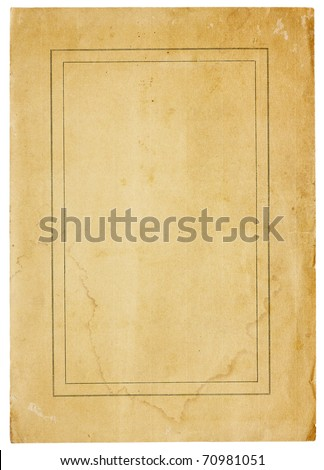 Aged. worn paper with abrasions, creases and rough edges. There is a thin, double border in black ink, but page is otherwise blank with room for text/images. Isolated on White. Includes clipping path. - stock photo