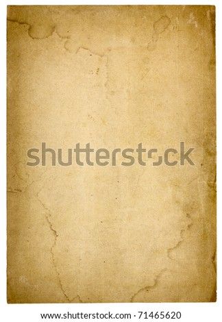 Aged, worn paper with abrasions, water stains and  rough edges. Blank with room for text or images. Isolated on White. Includes clipping path. - stock photo