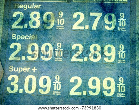 aged worn photo of gas station prices - stock photo