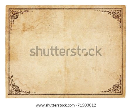 Aged, yellowing paper with creases, stains and smudges. Blank except for printed border with ornate corners. Isolated on white. Includes clipping path. - stock photo