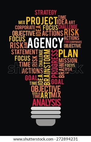 agency word in lightbulb shape concept