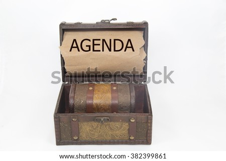agenda is written on the Brown torn paper in the treasure box. isolated on white background