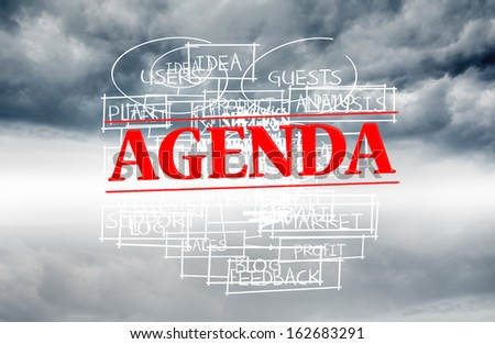 Agenda stamped over words written on sky background - stock photo
