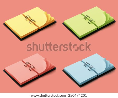 Agenda with colorful pages isolated on red background