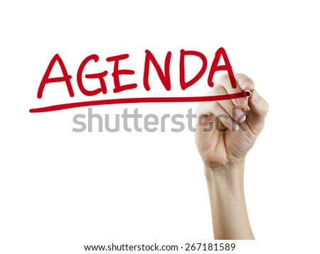 agenda word written by hand on a transparent board - stock photo