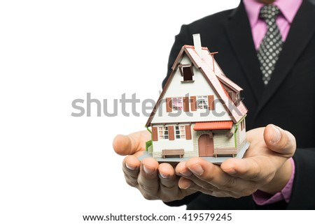 Agent show real estate for investment with white background