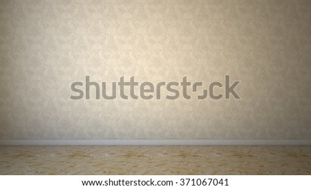 Agglomerate floor and soft wallpaper .