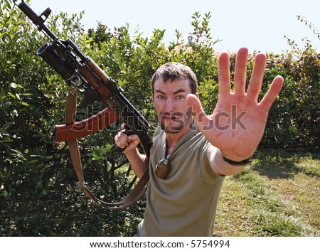 aggression terrorist against journalistic report - stock photo