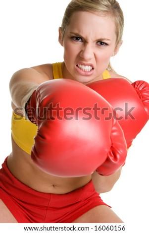 Aggressive Boxing Woman - stock photo