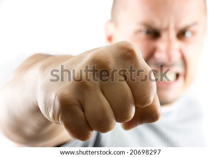 aggressive man showing his fist